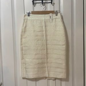 J Crew Cream Striped Sparkly Pencil Skirt